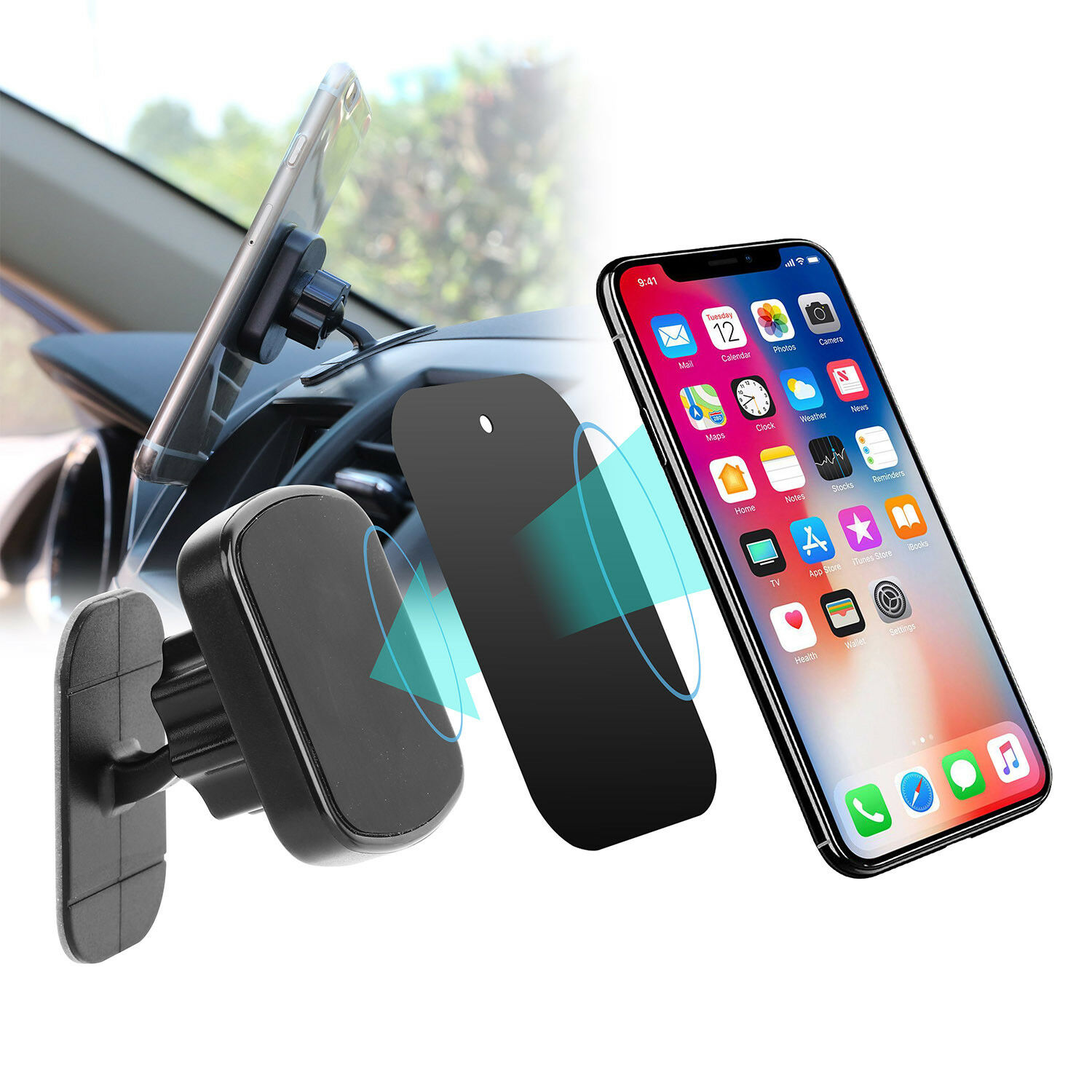 Magnetic Dashboard Phone Holder Car Mount for iPhone XS X XR 8 Galaxy Note  9 S9