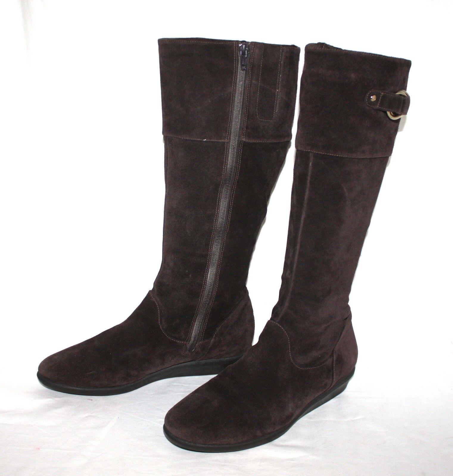 Cole Haan Air Brown Suede Waterproof Wedge Side Zip Tall Women's Boots Sz 10 B