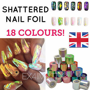 BROKEN-GLASS-NAIL-FOIL-18-Colors-NAILS-EFFECT-Stickers-Shattered-Angel-Paper-UK
