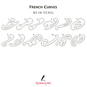 French Curve Ruler Set of 12 Rulers Drawing Template Fashion Sewing ...
