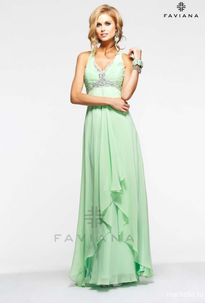 New FAVIANA 6916 Mint Formal Pageant DRESS GOWN Size 2