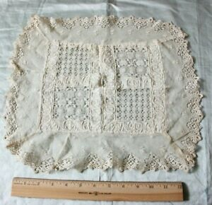"""Unusual Antique 19thC Lace & Embroidered Cream Cloth Or Doily~Dolls~L-13""""X W-14"""""""