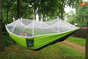Hammock 1 Person Portable Parachute Fabric Mosquito Net Hammock for Ourdoor