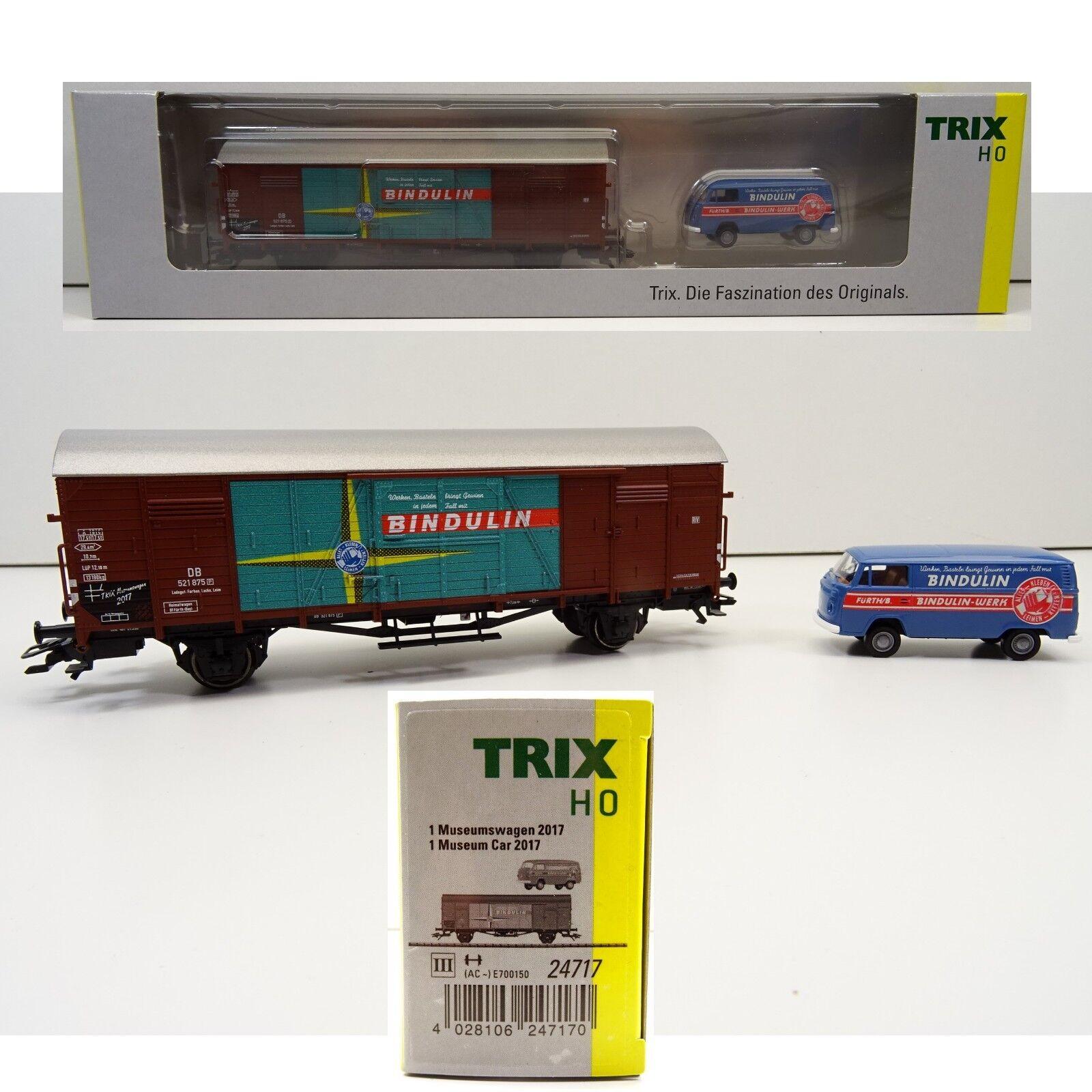 Trix H0 24717 Museumswagen 2017 Bindulin ged.Güterwagen  VW Bus OVP    Die Königin Der Qualität