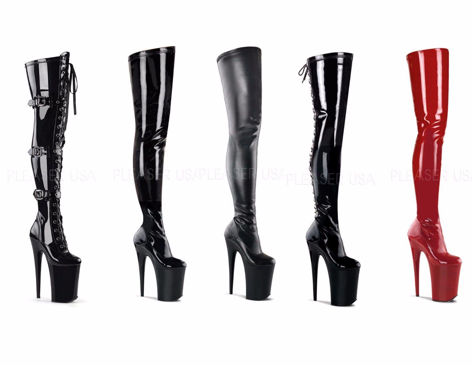 Pleaser INFINITY-3028 Exotic Dancing 9  Heel Platform Thigh High botas