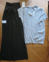 Size Large Black Slacks & Grey Sweater Maternity Clothes Lot $114 Retail L
