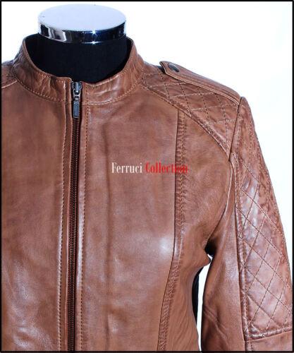Electra tan ciré femmes style motard rétro vintage vrai peau d/'agneau veste en cuir