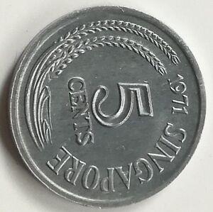 1971-Singapore-5-Cents-Aluminum-Coin-UNC-B46