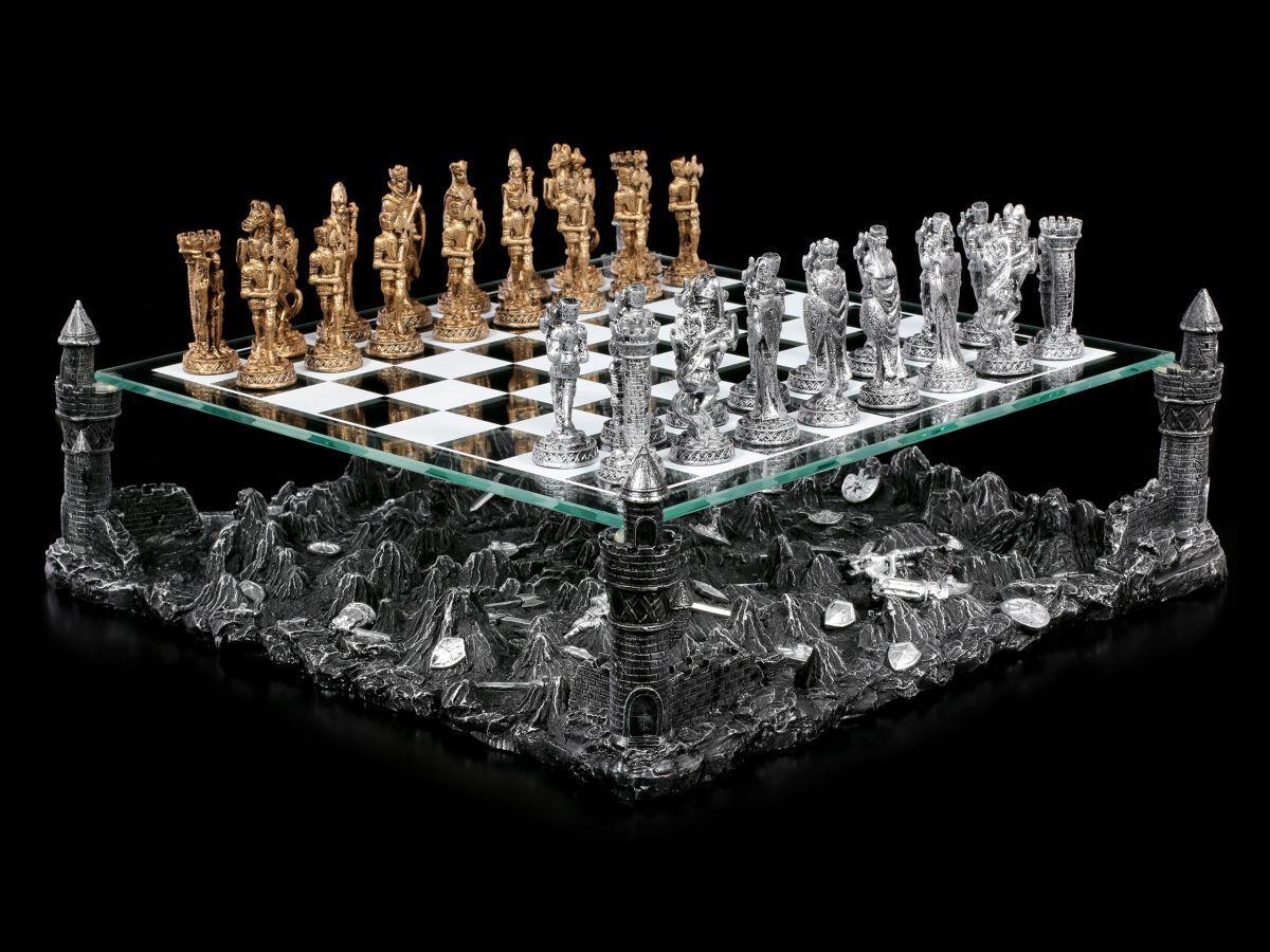 Jeu d'échecs avec zinnrittern-chevalier moyen  âge aux échecs ensemble en étain verre planche  bonne qualité