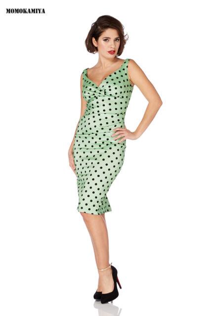 VOODOO VIXEN JAWBREAKER POLKA DOTS GREEN DRESS 1950S VINTAGE DRA2496 ROCKABILLY.