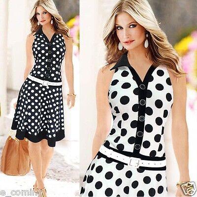 Womens Fashion Dress V-neck Polka Dot Sleeveless Low-Waistline One-piece Dress