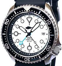 Vintage mens SEIKO diver 7002 GMT mod SWISS dual-time movement w/White TUNA dial