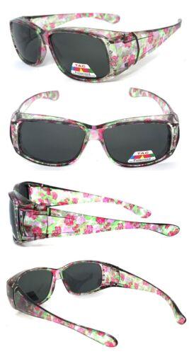 Damen Strass Polarisierend Anit Blendung Hülle Sonnenüberbrille Blumenmotiven