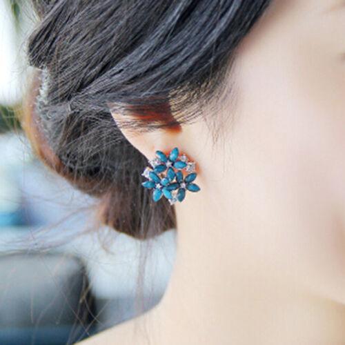 Mode Frauen Kristall Ohrstecker 3 Blume Brincos Pendientes Ohrringe 0U BDDE