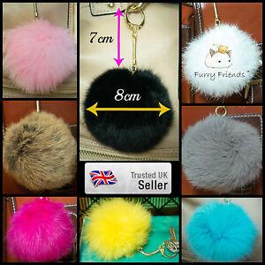 4f0ca563150 8cm Fur Pom Pom Gold Clasp Keyring Real Fluffy Puff Ball Handbag ...
