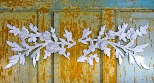 SHABBY & CHIC ROSE FRENCH LEAVES LARGE   * FURNITURE APPLIQUES *