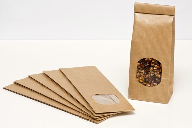 50 Blockbodenbeutel Fenster mit Verschlussstreifen 100 g Teetüten Teeverpackung