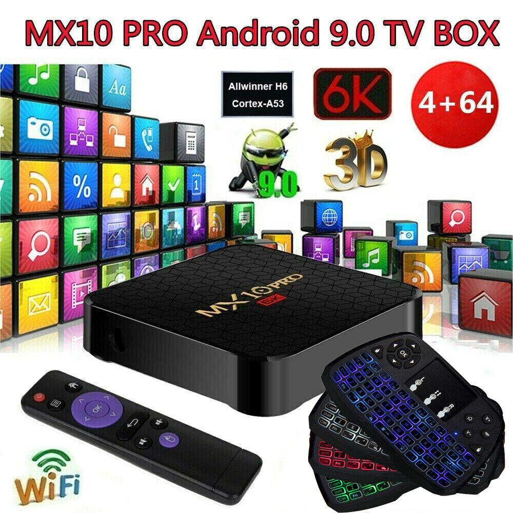 MX10 PRO 4GB+64GB Android 9.0 TV BOX Allwinner H6 Quad Core 6K WiFi 3D Keyboard allwinner android box core keyboard mx10 pro quad wifi