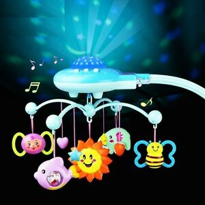 2017 Musical Crib Toys Bell Star Projection Light Flash Baby Hanging Rattle Set