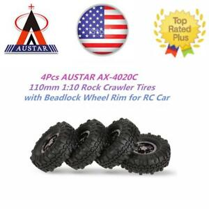 4x-AUSTAR-AX-4020C-1-9-Inch-110mm-1-10-Rock-Tires-w-Beadlock-Wheel-Rim-New-T8Y7