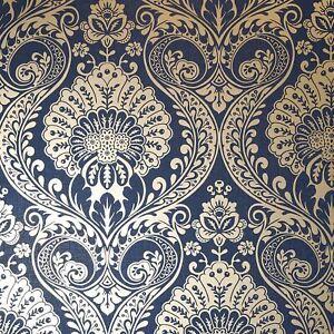 Luxe-Papier-Peint-Damas-en-Marine-Dore-par-arthouse-910308-Floral-Metallique