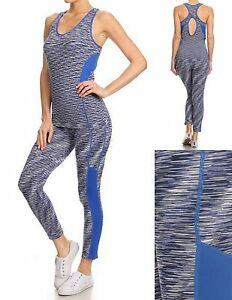womens active wear blue marled stretch yoga fitness tank