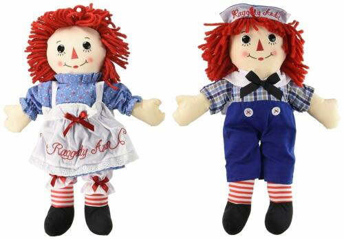 Raggedy Ann and Andy Doll 16/'/' Hasbro By Aurora Soft Plush New With Tags
