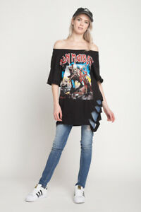 287d20b7e2 IRON MAIDEN TROOPER T SHIRT Rip Distressed OFF SHOULDER DRESS T ...