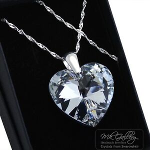 925-Sterling-Silver-Necklace-COMET-CAL-10-28mm-Heart-Crystals-from-Swarovski