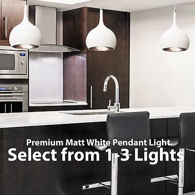 Hanging Ceiling Pendant Lights Matt White Copper Kitchen Lamp Built In Led Ebay