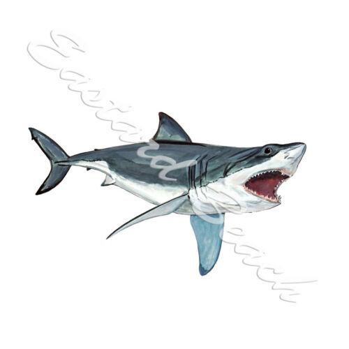 GREAT WHITE SHARK AUTO VEHICLE BOAT RV WINDOW BUMPER VINYL DECAL STICKER ART