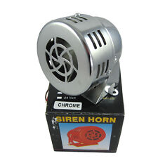 CHROME 12V CIVIL AIR RAID SIREN HORN TORNADO ALARM MOTOR DRIVEN POLICE FIRE