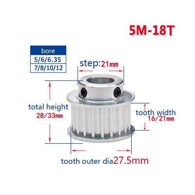 5M 18T Timing Belt Pulley Gear Wheel Sprocket 5-12mm Bore For 15//20mm Width Belt