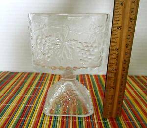 Vintage Square Footed Candy Nut Dish Compote Glass Dots Grapes and Grape Leaves