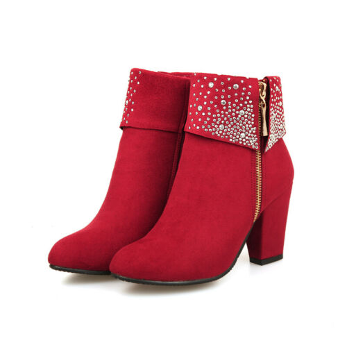 Details about  /Womens Shoes Rhinestone Side Zip Block Faux Suede Ankle Boot High Heel Round Toe