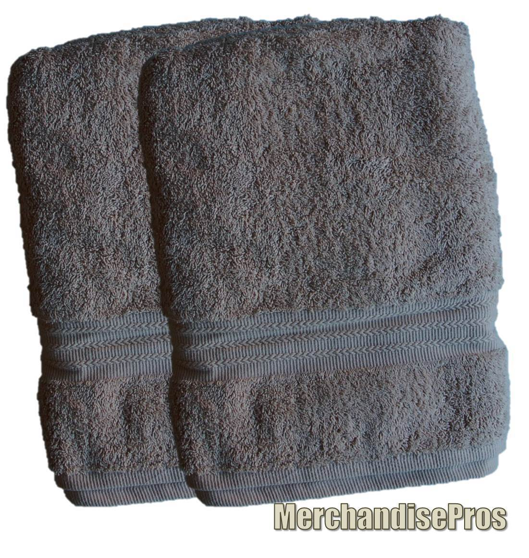 TWO PLATINUM COLLECTION TAN '100% RINGSPUN COTTON' LUXURIOUS BATH SHEETS TOWELS