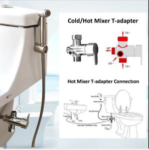 Brass-7-8-034-Cold-amp-Hot-Water-Toilet-Bidet-Sprayer-4-Ways-Mixer-3-8-034-Adapter-Set