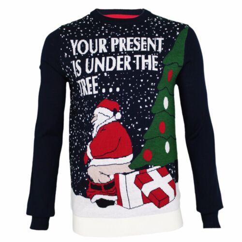 Mens Christmas Novelty Jumper Funny Santa Thin Xmas Sweater Top Crew Neck New
