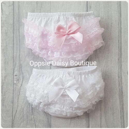 Baby Girls Ribbon /& Lace Frilly Knickers Pants Frilly Pants Pink /& White ☆