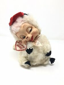 Plush-Stinky-Skunk-Rubber-Face-Stuffed-Rushton-Toy-Doll-Vintage-White-Valentines