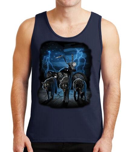 2090C Wolf Bike US Flag Biker Mens Tank Top Wolfs in the night Tanks for Men