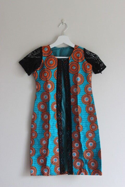 African Print dress coat with embellishment and Black lace detailing for girls