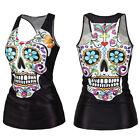 Women Print Tank Tops Skull Print Singlet Clubwear Vest Punk Cami Rock T-ShirtLJ