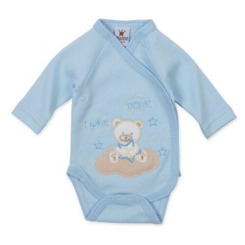 Milarda Baby Body Wickelbody Bär Gr 50-62 blau