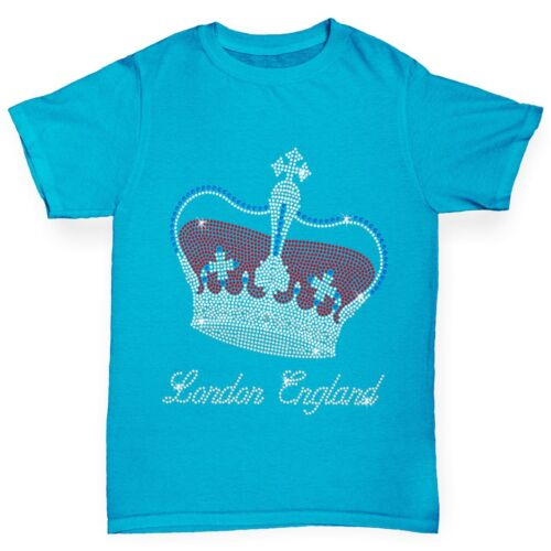 Twisted Envy Girl/'s London Crown Rhinestone Diamante T-Shirt