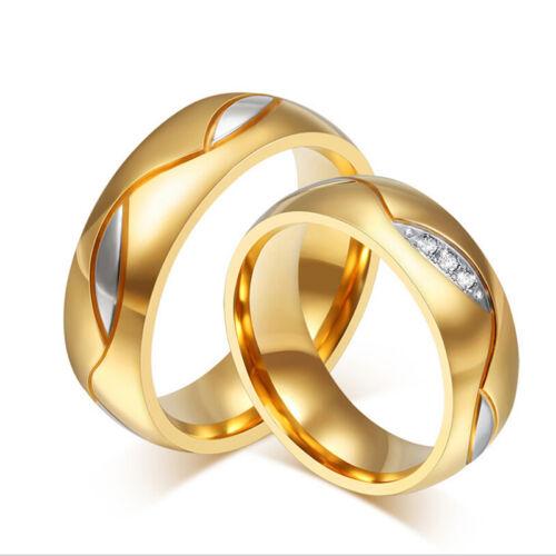 AAA Zircone Cubique Plaqué Or Titane Acier couple anneaux St Valentin Cadeau