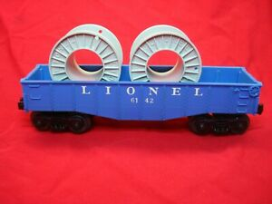 LIONEL-6142-125-8-034-BLUE-GONDOLA-W-LIGHT-GRAY-SPOOLS-SCARCE-VAR-EX-COND