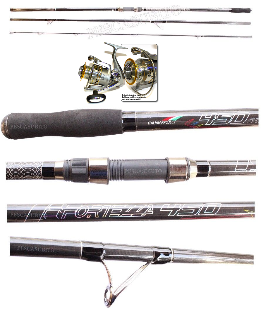 Kit Surfcasting Canna Ripartita Fortezza 4.50Mt  Mulinello Talent 6000 Mare EH