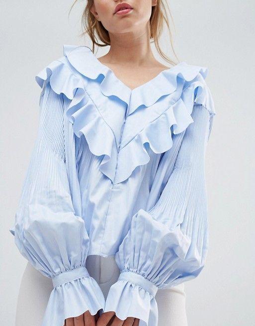 New  Style Mafia Frill Overlay Detail Woven Blau Top Balloon Sleeves Größe L