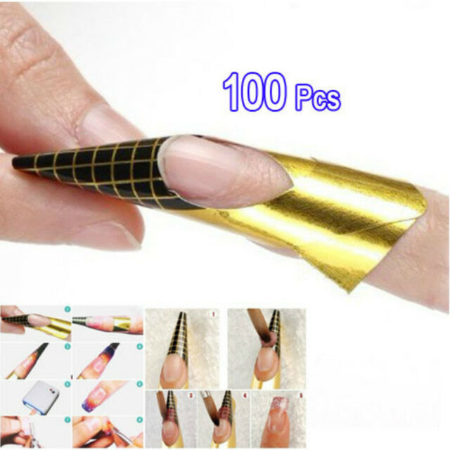 100x Golden Nail Art Tips Extension Forms Guide French Acrylic UV ...